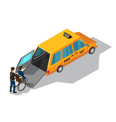 taxi service for disabilities isometric design vector image vector image