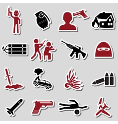 Terrorism theme set of red and black stickers vector
