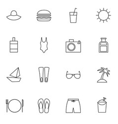 Traveling and resort thin line icons set vector