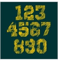 Vintage numbers set in grunge style vector