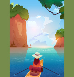 woman floating in boat in mountains lake summer vector image