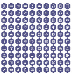 100 support icons hexagon purple vector
