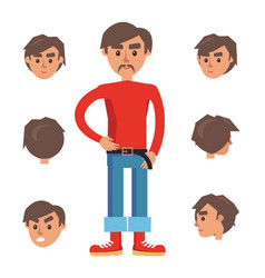 man constructor character with set of six heads vector image