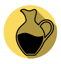 amphora sign  flat black icon with flat vector image