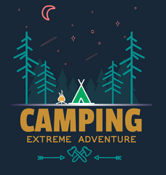 Outdoor camping and adventure forest badge logo vector