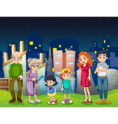 A family at the city standing in front of the tall vector image