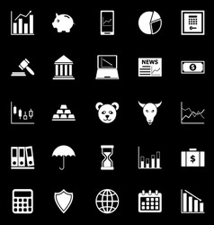 Stock market icons on black background vector