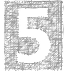 Freehand typography number 5 vector
