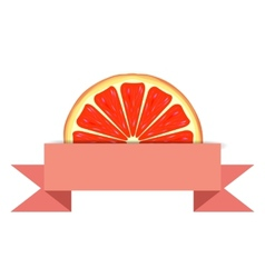 Grapefruit slice with paper banner vector