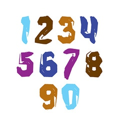 Stroked bright numbers set drawn with real ink vector