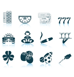 Set of gambling icons vector