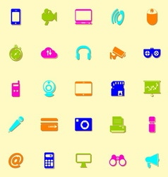 Gadget neon icons with shadow vector