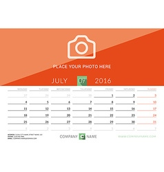 Desk calendar 2016 print template july week starts vector