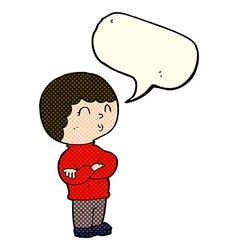 Cartoon boy with folded arms with speech bubble vector