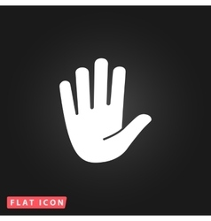Stop hand flat icon vector