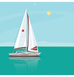 Lonely sailing yacht in the ocean on a sunny day vector