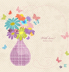 banner with cute vase of daisies on a old paper vector image