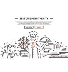 Best cuisine in the city - line design website vector