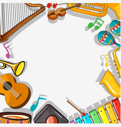 Border template with musical instruments vector