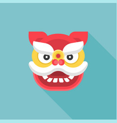 Chinese new year flat icon lion dance head vector