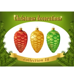 Christmas decorations Collection of red gold and vector image vector image