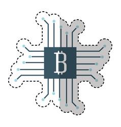 Circuit with bitcoin icon vector