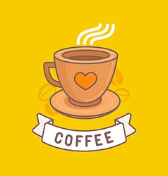 Coffee emblem in trendy linear style vector
