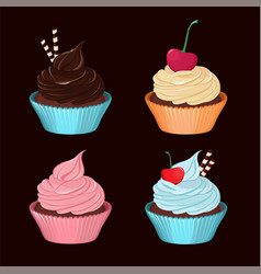 Cupcakes set of tasty cupcakes with cream vector