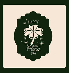 emblem happy saint patricks day with clover of vector image