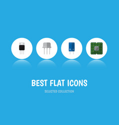 flat icon device set of receiver transistor vector image vector image