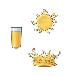 glass and two splashes of orange juice vector image