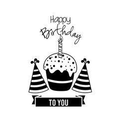 Happy birthday cake with candle and hats party vector