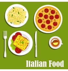 Italian cuisine with pizza and ravioli vector image