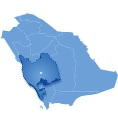 Map of saudi arabia the region makkah vector