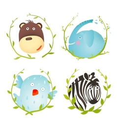 Monkey Zebra Elephant Bird Funny Cartoon Portraits vector image