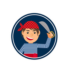 Pirate with knife icon in circle vector