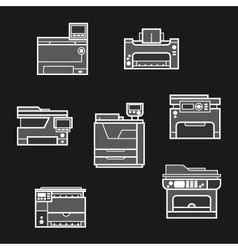 Printer icons on dark background vector image vector image
