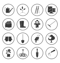 Round Icons Gardening Equipment vector image vector image