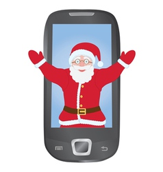 Santa inside mobile phone vector image vector image