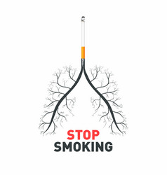 stop smoking cigarette with human lungs no vector image vector image