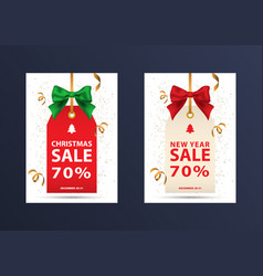 two christmas discount coupons vector image vector image