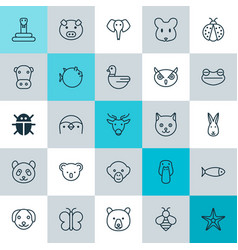 Zoology icons set collection of bunny duck rat vector