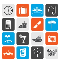 Flat travel trip and tourism icons vector