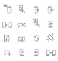 Communication icon set outline vector