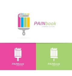 Book and paintbrush logo combination vector