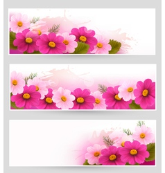 Set of holiday banners with colorful flowers vector image