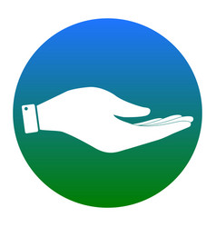 Hand sign   white icon in vector