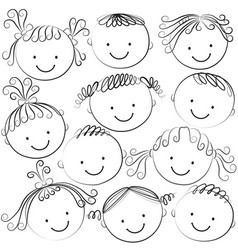 Set of kid heads in black color vector