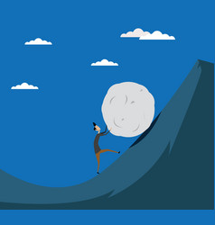 business man pushing big stone up to hill vector image