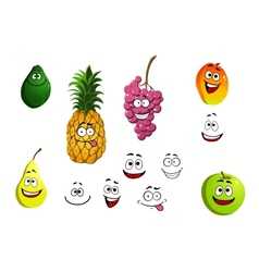 Apricot pineapple apple pear grape and lemon vector